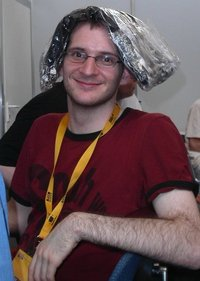 Martin with Debian keyrings on his head