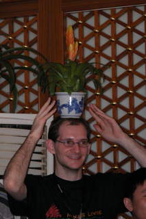 Martin wearing a plant crown